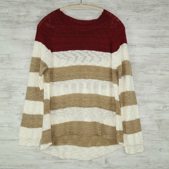 Pixley Sweaters - Stitch Fix Pixley Sweater Burgundy Beige Striped
